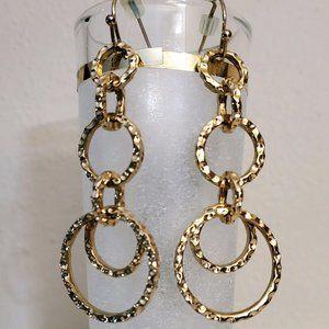 Lia Sophia Hammered Gold Tone Circle Earrings